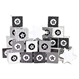 Papierdrachen DIY Adventskalender zum Befüllen - Kisten Set - Motiv schwarz-weiß - 24 Schachteln zum Aufstellen und zum Befüllen - 24 Boxen