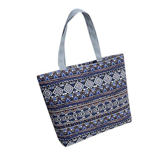 BZLine® Frauen Leinwand einkaufen Schulter Handtasche Tote Shopper Tasche, 42cm *32cm *9cm Hellblau