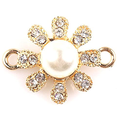 Lot 5 Breloques Connecteurs Alloy Fleur 26x20x10mm Doré et Perle et Strass pour Diy Collier Bracelets Bijoux Accessories