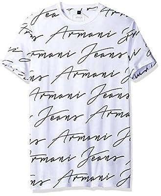 Armani Jeans Men's Slim Fit Pima Cotton Handwritten Brand T-Shirt