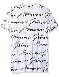 T-shirt uomo stampa firma Armani Jeans 3Y6T40 6JPFZ 1100 bianca