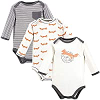 Touched by Nature Baby Organic Cotton Bodysuits, Fox Long-Sleeve 3-Pack, 18-24 Months (24M)