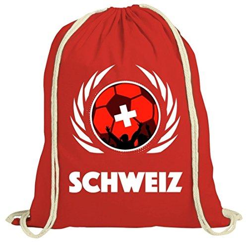 Swiss Wappen Soccer Fussball WM Fanfest Gruppen Fan natur Turnbeutel Gym Bag Fußball Schweiz Rot Natur