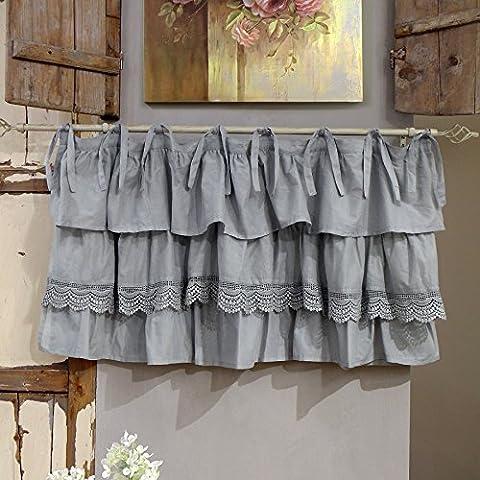 Vorhang Gardine Scheibengardine Bistrogardine mit drei Rüschen Landhaus Shabby Chic - Rüsche Volant / Spitze - 130x60 - Grau - 100%