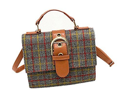 JUND Frau Fashion Handtasche Elegant Kariert Satchel Umhängetasche Freizeit Schlicht Mini Platz Messenger Bag (Classic Mini Satchel)