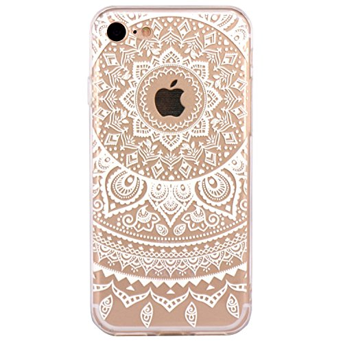 iPhone 5 Case, Walmark Beautiful Clear TPU Soft Case Rubber Silicone Skin Cover for iPhone 5 inch - White Tribal Henna