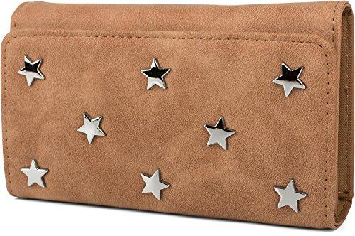 styleBREAKER weiche Geldbörse mit Stern Nieten Applikationen, Druckknopf Verschluss, Portemonnaie, Damen 02040087, Farbe:Cognac