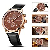 SONGDU Mens Big Face Multi-Function Chronograph Quartz Watch With Gold Alloy Watch Case Black Pin Buckle Leather Strap and——Ideal and Celebrative Gift for Christmas and New Year Sales DM-9201-P05KRA
