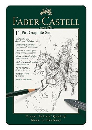 Faber-Castell 112972 – Estuche de metal con 11 piezas, ecolápices Castell 9000, barras de grafito, grafitos puro y accesorios, monocrome