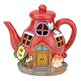 Picture Of Christow Solar Powered Fairy House LED Teapot Garden Light Outdoor Ornament Dwelling Red