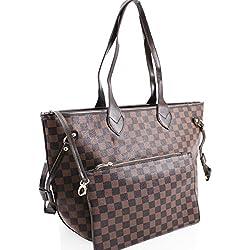 LeahWard® Damen 2 IN 1 Schultertasche mit Clutch Bag Designer-Einkaufstaschen (Braun Tasche mit Kupplung)