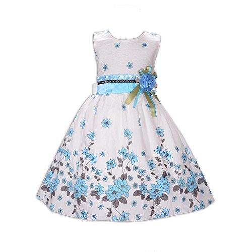 Cinda Mädchen Baumwolle Kleid Kirsche- Gr. 122-128 (Etikettgröße: 16), Weiß und Blau