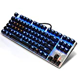 EMISH 87 Key Mechanische Gaming Tastatur, wasserdicht Mechanische Gaming Tastatur mit blauem Schalter, USB verdrahtet, Full Keys Anti-Ghosting, Silber
