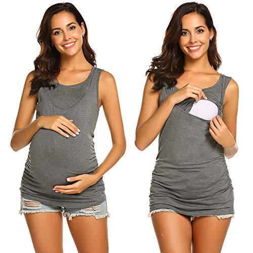 UNibelle Schwangeres Top T-Shirt Einfarbige Baumwolle Stilltop Lagendesign Wickeln-Schicht Rundhalsausschnitt Kurzarm grau - S