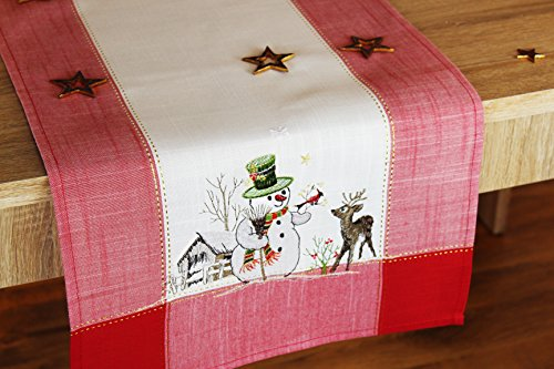Kamaca Bezaubernde Serie Snowman Meets Reindeer in Creme mit Schneemännern, Rentieren und Rotem Rand Verziert - Ein Echtes Schmuckstück - Winter Advent Weihnachten (Tischläufer 40x140 cm)