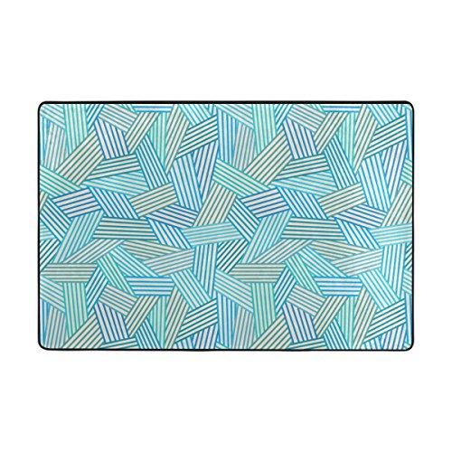 4 Lineare Füße (UHONEY ingbags Abstarct blau Linear nahtloses Muster, Wohnzimmer Essbereich Teppiche 3x 2Füße Bed Room Teppiche Büro Teppiche Moderner Boden Teppich Teppiche Home Decor, Multi, 6 x 4 Feet)
