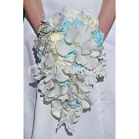 Blanco Vanda diseño de orquídeas, diseño de peonías rosas marfil y azul diseño de Laura OLIVIA suite boda ramo de flores en caja diseño de rosas