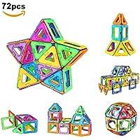 Magnetische Bausteine,Bauklötze Bausteine Konstruktionsbausteine Lernspielzeug 72 Stücke Perfekten Spielzeug mit Spaß und Geschenk für den Einsatz zu Hause, in Schulen, Picknick, Kindertage