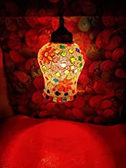 iHandikart Handmade Multicolor Decorative Heritage Style Glass Hanging lamp from iHandikart Handicrafts 7x5 In