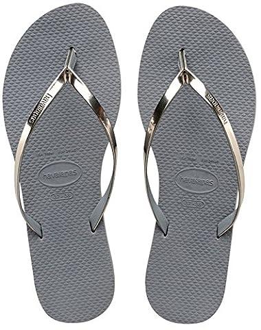 Havaianas Damen Flip Flops You Metallic Grösse 41/42 EU ( 39/40 Brazilian) Steel Grau Zehentrener für