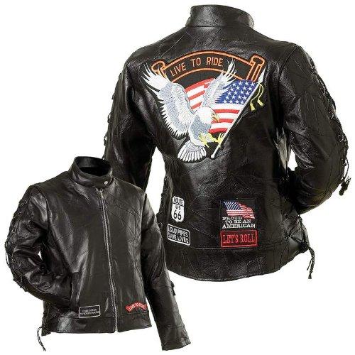 Diamond Plate Diamond Plate Ladies Leather Moto JACKET Black Small
