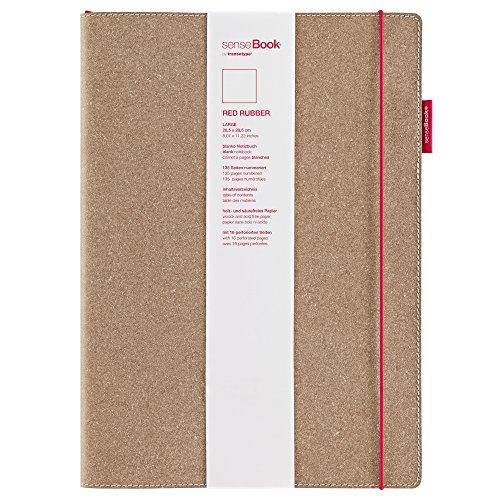 transotype senseBook RED RUBBER Design Notizbuch, large - ca. A4, blanko, weitere Varianten auswählbar, mit rotem Gummiband, edles Rinderleder