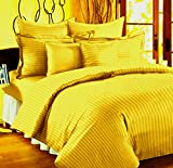 #2: Trance Home Linen 100 % Cotton Premium 210Tc Satin Stripes King Double Fitted Bedsheet with 2 Pillow Covers - Golden Yellow
