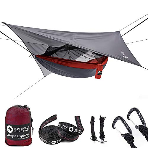 Easthills Outdoors Tragbare Doppel-Campinghängematte mit abnehmbarem Moskitonetz, red with rainfly