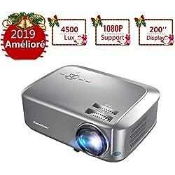Projecteur Excelvan Vidéoprojecteur 4500 Lumens Full HD 1080P/USB/VGA/SD/HDMI 200''Display LCD Résolution 1280*768P Contraste 1000: 1 Compatible avec Le Boîtier TV Box PC pour Voyage et Maison
