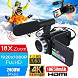 Thboxes Professional 4K HD Camcorder Video Camera Night Vision 3.0 Inch LCD Touch Screen Camera 18x Digital Zoom Camera with Microphone Camera + Microphone Set