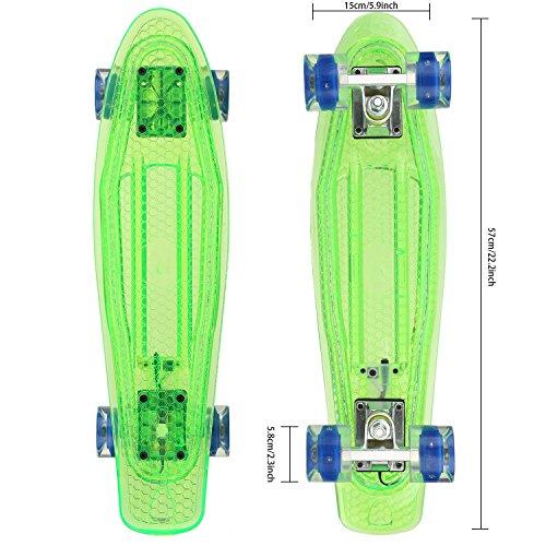 Hikole Retro 55cm Cruiser Skateboard Komplett Mini Vintage Skate Board mit LED Leuchtrollen für Kinder Erwachsene