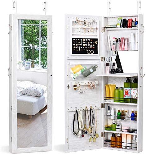 HOUSE DAY Schmuck Schrank Wand Tür montiert abschließbar Schmuck Schrank Veranstalter mit Ganzkörperspiegel Schmuck Spiegelschrank (weiß)