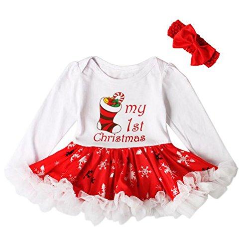 Hankyky Baby Weihnachten Kleinkind Spielanzug Overall Bodies Kleider Mädchen Christmas Kleidung Set Outfit Strampler mit Stirnband (Weihnachten Mädchen Outfits Für)