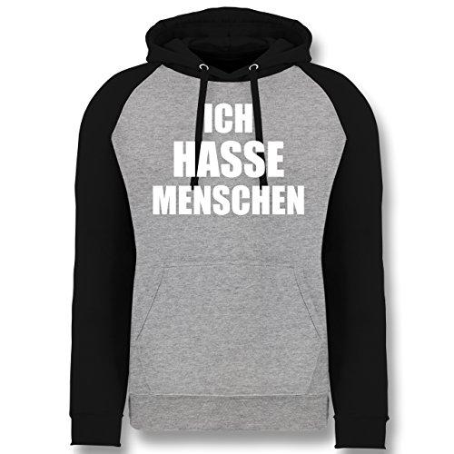 Statement Shirts - Ich Hasse Menschen - L - Grau meliert/Schwarz - JH009 - Baseball Hoodie
