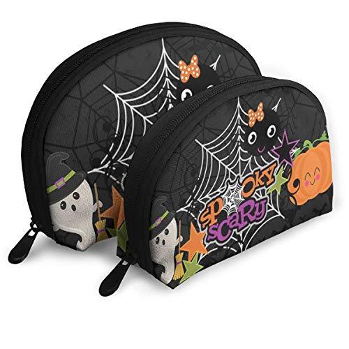 Kosmetiktasche Halloween Ghost Pumpkin Wallpapers Toiletry Make Up Bag Bathroom Organizer Travel Case 2 Piece Set (Wallpapers Halloween Ghost)