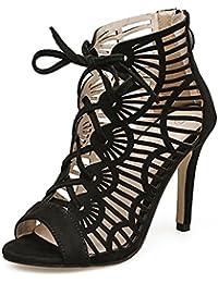 Aisun Damen Hollow Out Peep-Toe Schnürsenkel Stiletto Sommerstiefel mit Reißverschluss