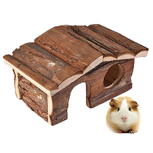 Hamster Toys - Caseta de madera natural de doble cubierta de lujo para pequeños áimos, masticar, jugar al senderismo