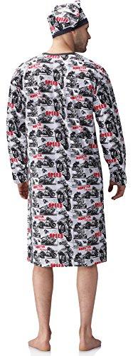 Cornette Herren Nachthemd mit Schlafmütze 110V2015 Weiß/Schwarz(Motorrad )