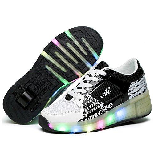 FZUU Kinder Mode LED Beleuchtung Roller Schuhe Kinder Outdoor Casual Sport Schuhe Junge / Mädchen Sneakers Roller Skates mit Rädern Schwarz