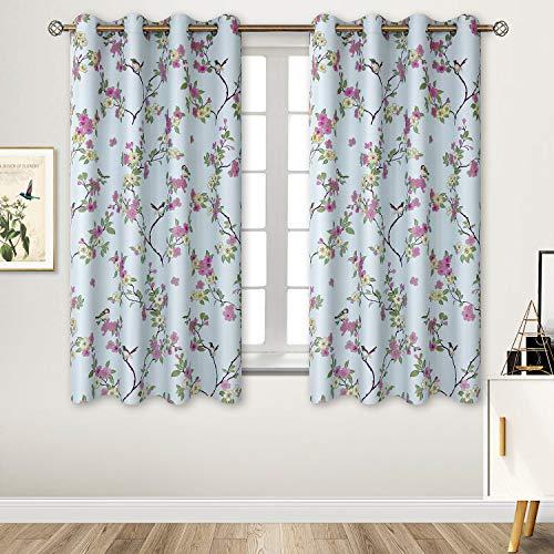 Blickdichte Vorhänge Blau mit Ösen mustern Orientalische Glückliche Vögel und Blumen,Energiespar & Wärmeisolierend, Verdunkelungsvorhänge für Wohnzimmer Schlafzimmer 1 Paar(2X H 137 X B 117cm,Blau) -