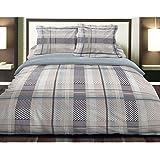 Lm-distribution - Parure de lit en Flanelle Bleu Chalet 140 x 190 cm