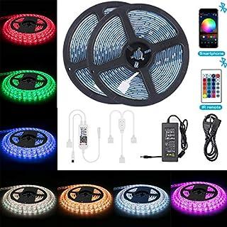 Bluetooth LED Streifen 10m(2x5m), ALED LIGHT RGB LED Strip 5050 Wasserdicht IP65 300(2x150) LED Stripes + Bluetooth Kontroller+24 Tasten Fernbedienung+12V Netzteil