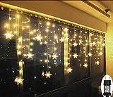 SMITHROAD LED Lichtervorhang Schneeflocke für Weihanchten Party IP44 31V Niederspannung mit 8 Modi 93er Lichterkette Weihnachtsbeleuchtung für Innen Außen Fenster Deko 3,2M x0,8M,Warmweiß