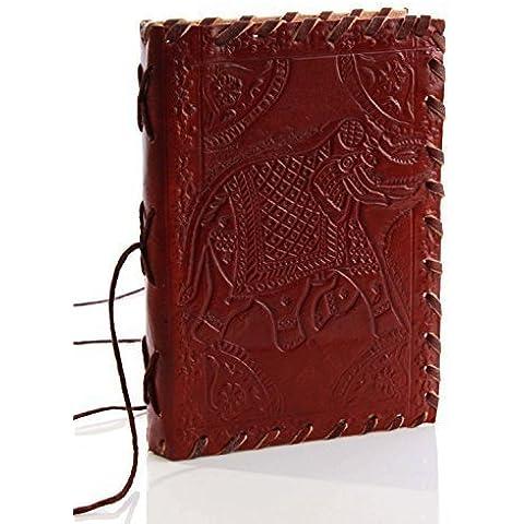 Hecho a mano Diary cuero genuino con hermoso elefante en relieve de la cubierta y del algodón de bloqueo de rosca