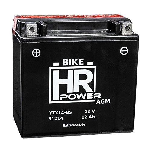 AGM Motorrad Batterie Starterbatterie 12V 12Ah YTX14-BS 51214 wartungsfrei