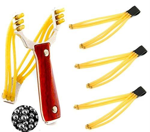 COSORO Outdoor Hohe Qualität Jagd Katapult rot Holz-Legierung steinschleudern Spiel Spielzeug + 3 Gummibänder Ersatz + 50 Ball Munition