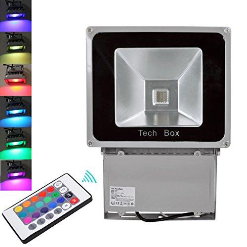 FARO FARETTO RGB LED 100W proiettore MULTICOLOR COLORI USO ESTERNO TELECOMADO FLASH - Camion Staffa Di Montaggio