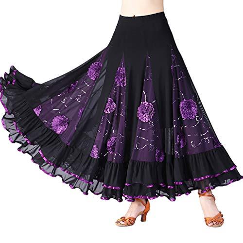 Tookang Mujer Falda Larga de Danza Traje de Baile Flamenco Sevillanas Tango Clásica Skirts Maxi Falda Plisada Casual