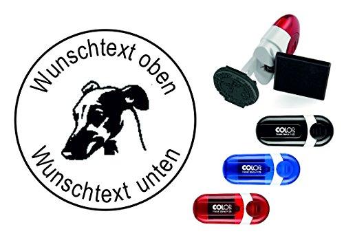 Geocachingstempel Hund « WHIPPET WINDHUND KOPF » mit persönlichen Cachername / Nickname Runder Stempel Geocaching Pocketstempel -