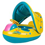 Lukis Baby Kleinkinder Schwimmsitz Aufblasbarer Schwimmring mit Sonnendach Kinderboot 72cmx58cm Bunt